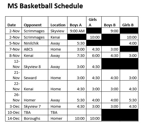 MS Basketball Schedule